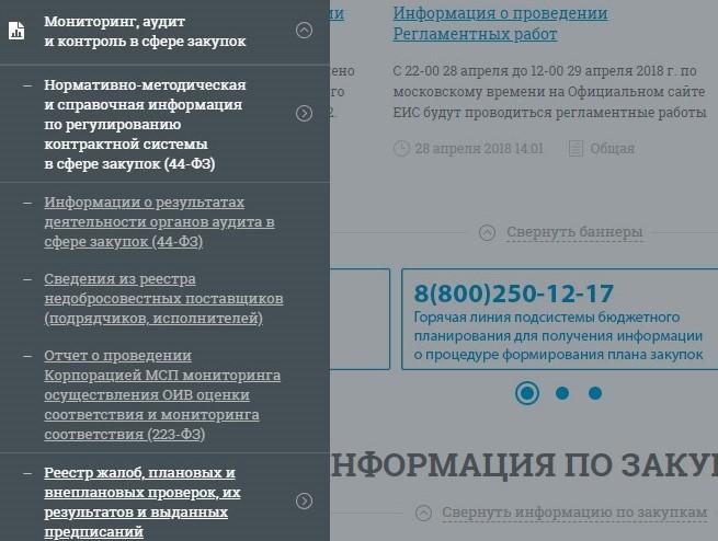 Раздел «Мониторинг, аудит и контроль в сфере закупок» на боковой панели главной страницы официального сайта единой информационной системы в сфере закупок