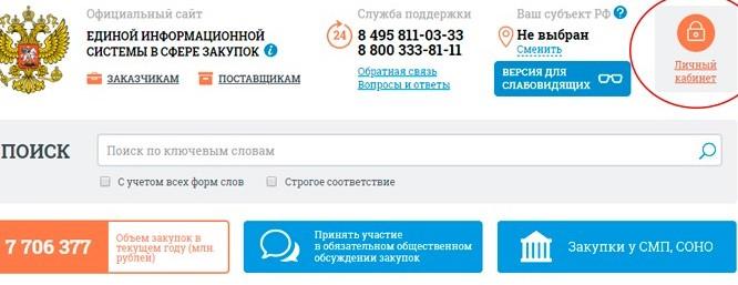 Официальный сайт единой информационной системы в сфере закупок – главная страница, регистрация в личном кабинете